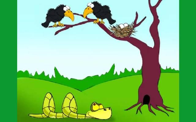 తెలివైన కాకి మరియు పాము | Clever Crow and Snake