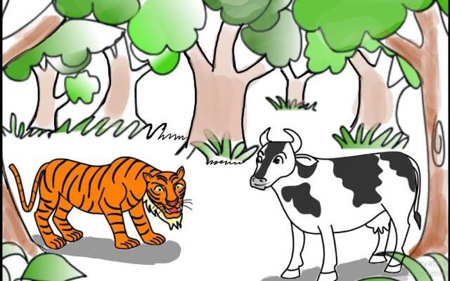 ఆవు పులి కథ   Cow and Tiger Story